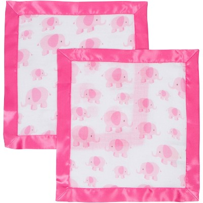 MiracleWare Muslin Security Blanket - Pink Elephant 2pk