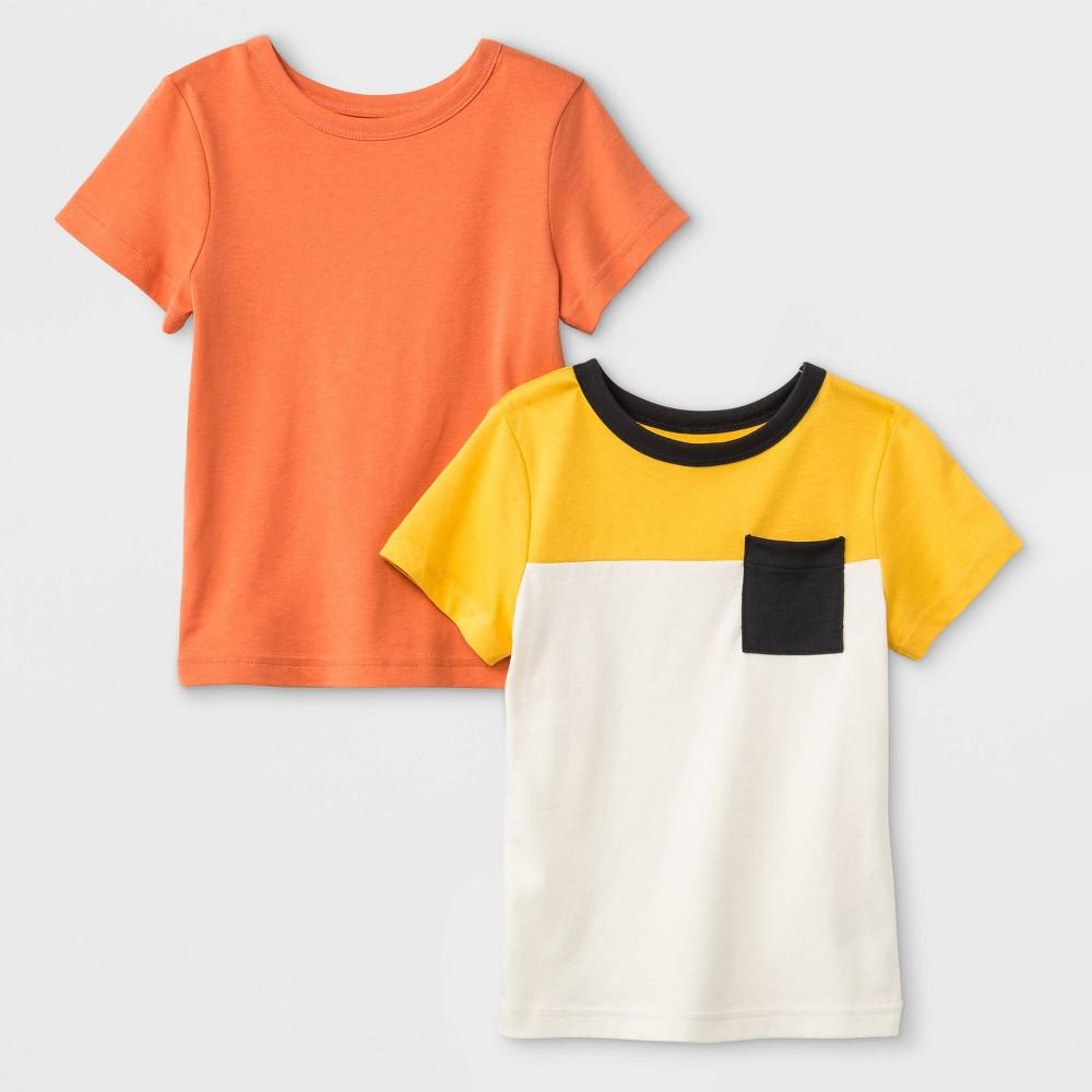 Toddler Boys' 2pk Short Sleeve Jersey Keep The Future Bright T-Shirt - Cat & Jack Orange/Yellow/White 3T