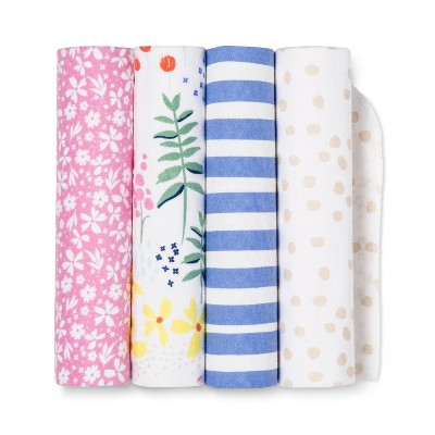 Flannel Baby Blankets Wildflower 4pk - Cloud Island™ Pink/Blue