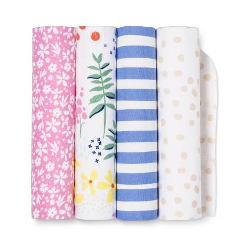 Flannel Baby Blankets Wildflower 4pk - Cloud Island™ Pink/Blue - image 1 of 1