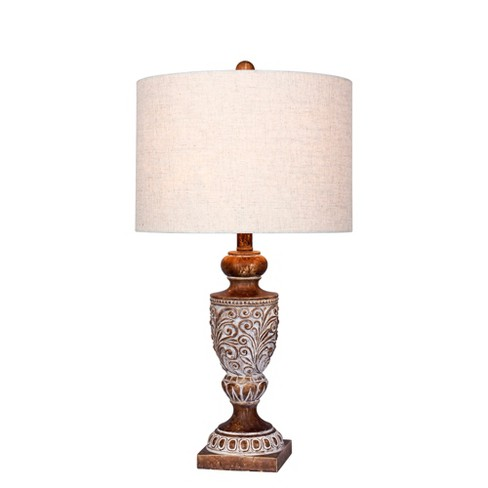 Distressed, Decorative Resin Table Lamp in Antique Brown - Fangio Lighting - image 1 of 2