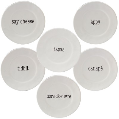 Certified International It's Just Words Ceramic Appetizer Plates 6  White - Set of 6