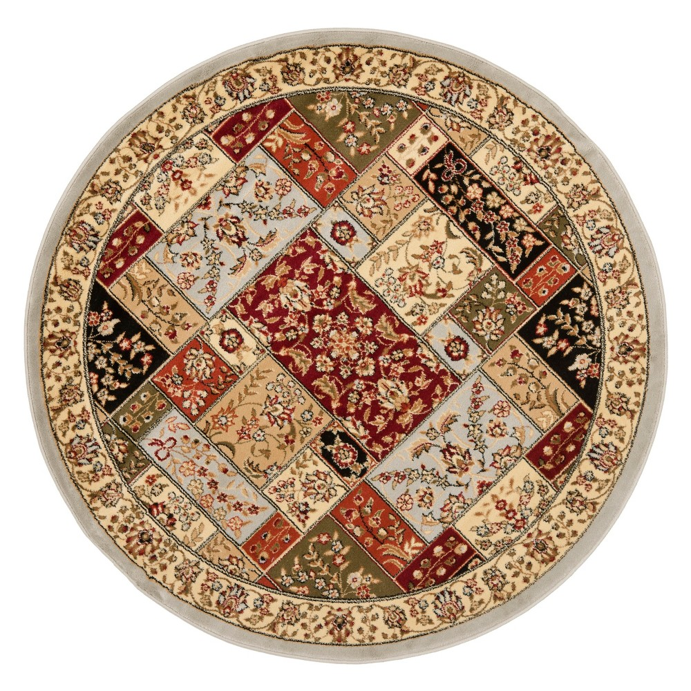 5'3 Floral Loomed Round Area Rug Gray - Safavieh