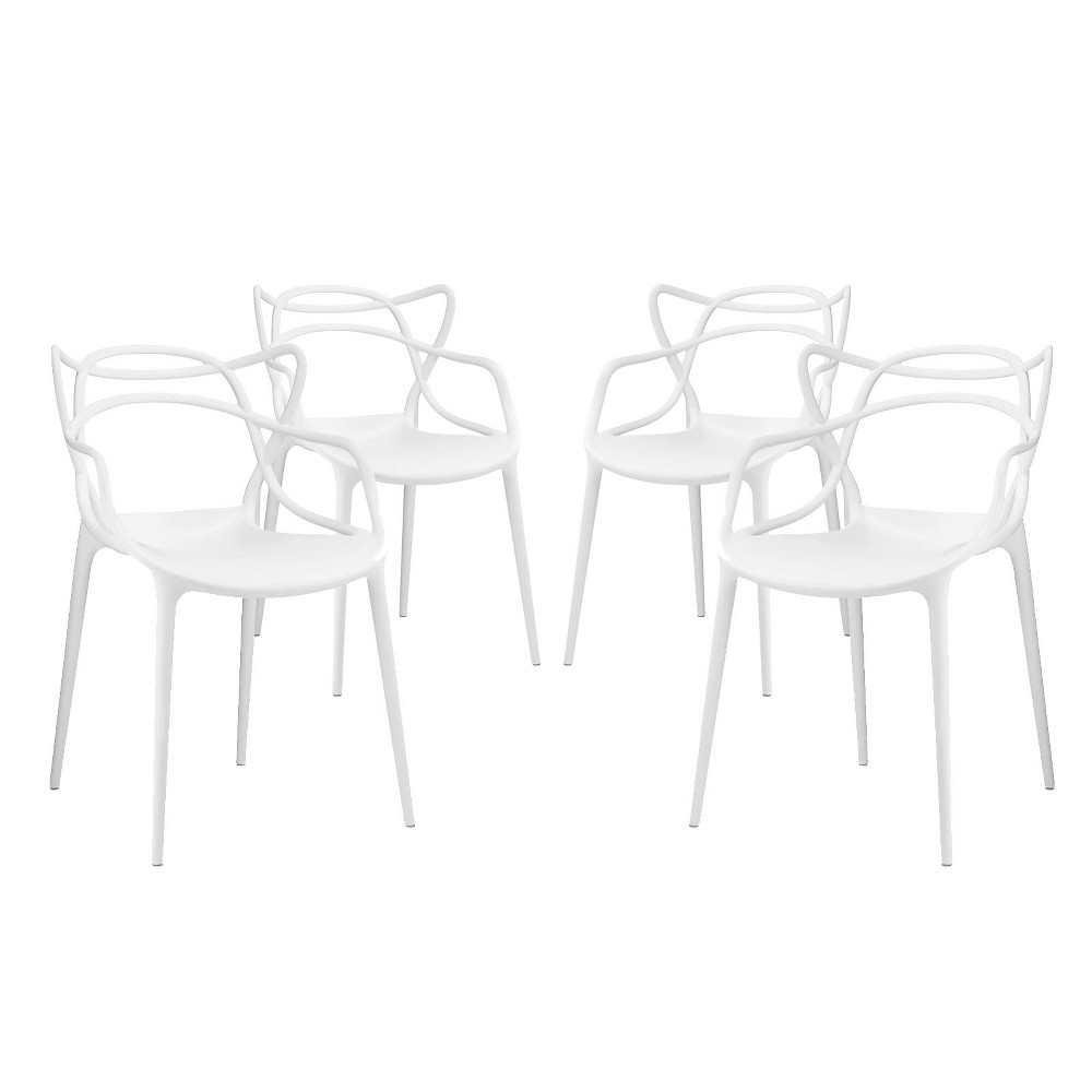 Entangled Dining Set of 4 White - Modway