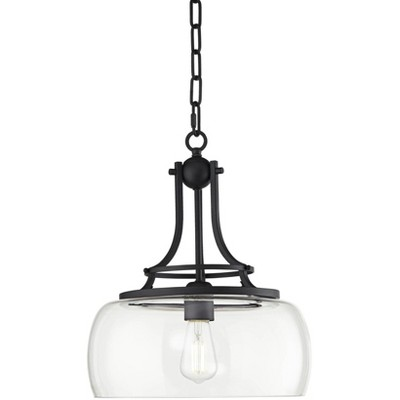 """Franklin Iron Works Charleston 13 1/2"""" Wide Clear Glass and Black LED Pendant Light"""