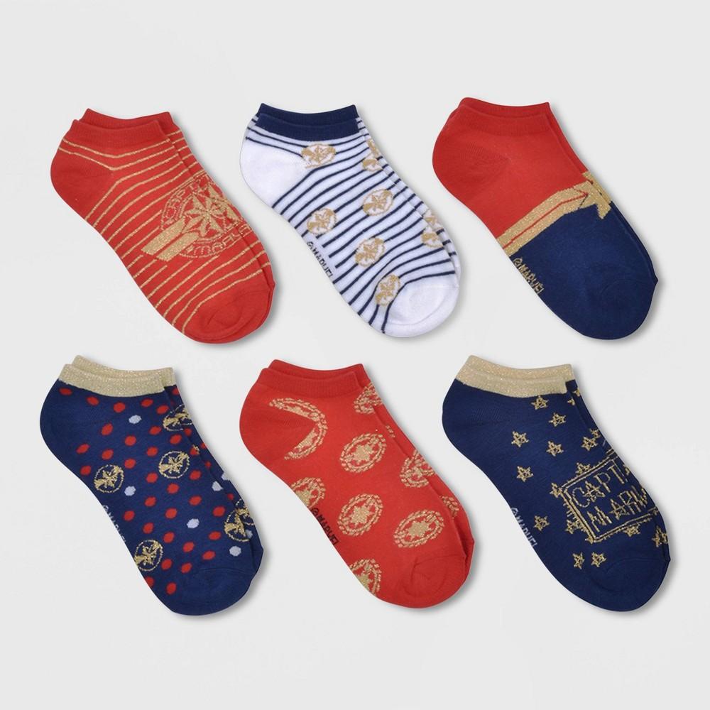 Kids' Captain Marvel 6pk No-Show Socks - S/M, Kids Unisex, Blue