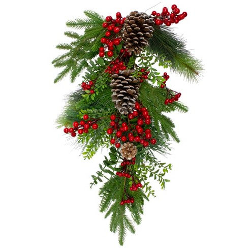 "Northlight 26"" Berry and Snowy Pinecones Artificial Teardrop Christmas Swag - Unlit - image 1 of 3"