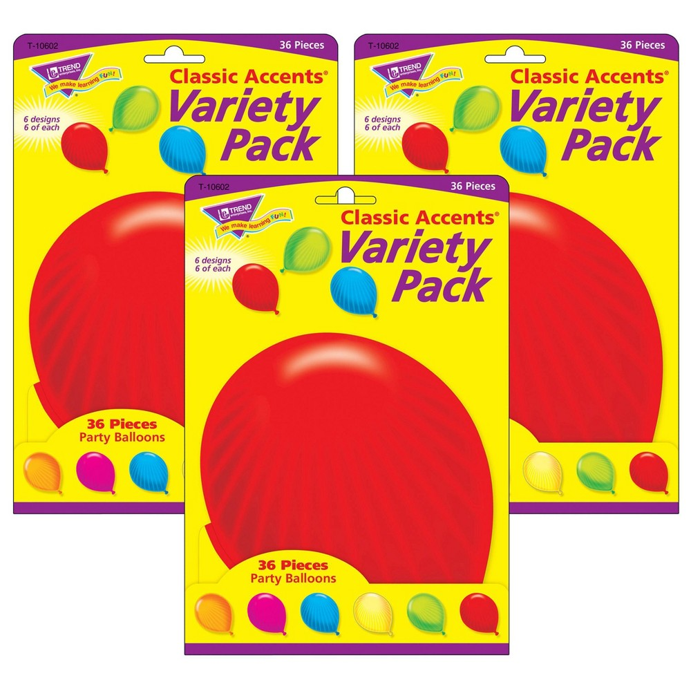 3pk 36 Per Pack Party Balloons Classic Accents Variety Pack Trend