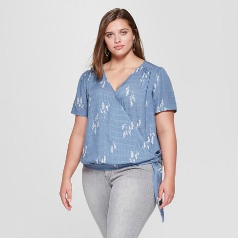 70fec9b588 Women s Plus Size Short Sleeve Tie Front Wrap Top - Universal Thread™ Blue
