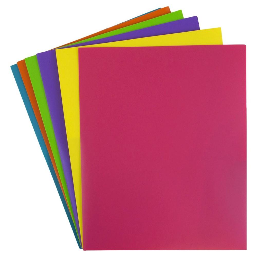 Image of JAM Paper 6pk 2 Pocket School POP Plastic Folder - Assorted Fashion Colors
