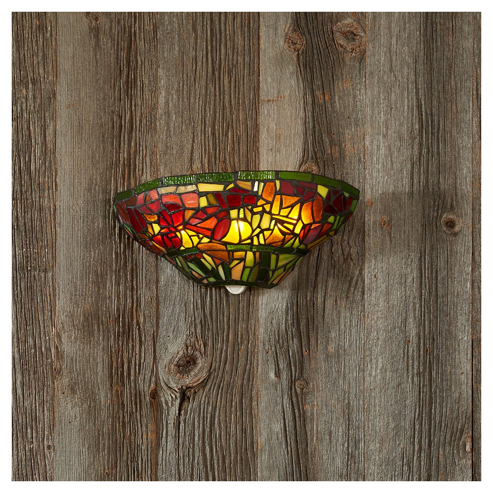Image of Battery-Operated Stained Glass Half Moon Sconce with Roses with remote