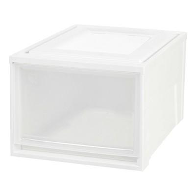 IRIS 3pk Deep Stacking Plastic Storage Drawer White