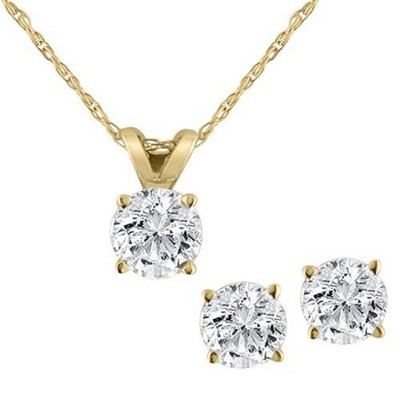 Pompeii3 Diamond Solitaire Necklace & Studs Earrings Set 3/4 Carat 14K Yellow Gold