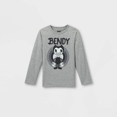 Boys' Bendy and the Ink Machine Long Sleeve Graphic T-Shirt - Gray