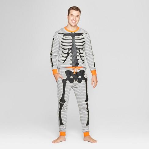 1074166fd2 Snooze Button Men s Skeleton Pajama Set - Gray   Target