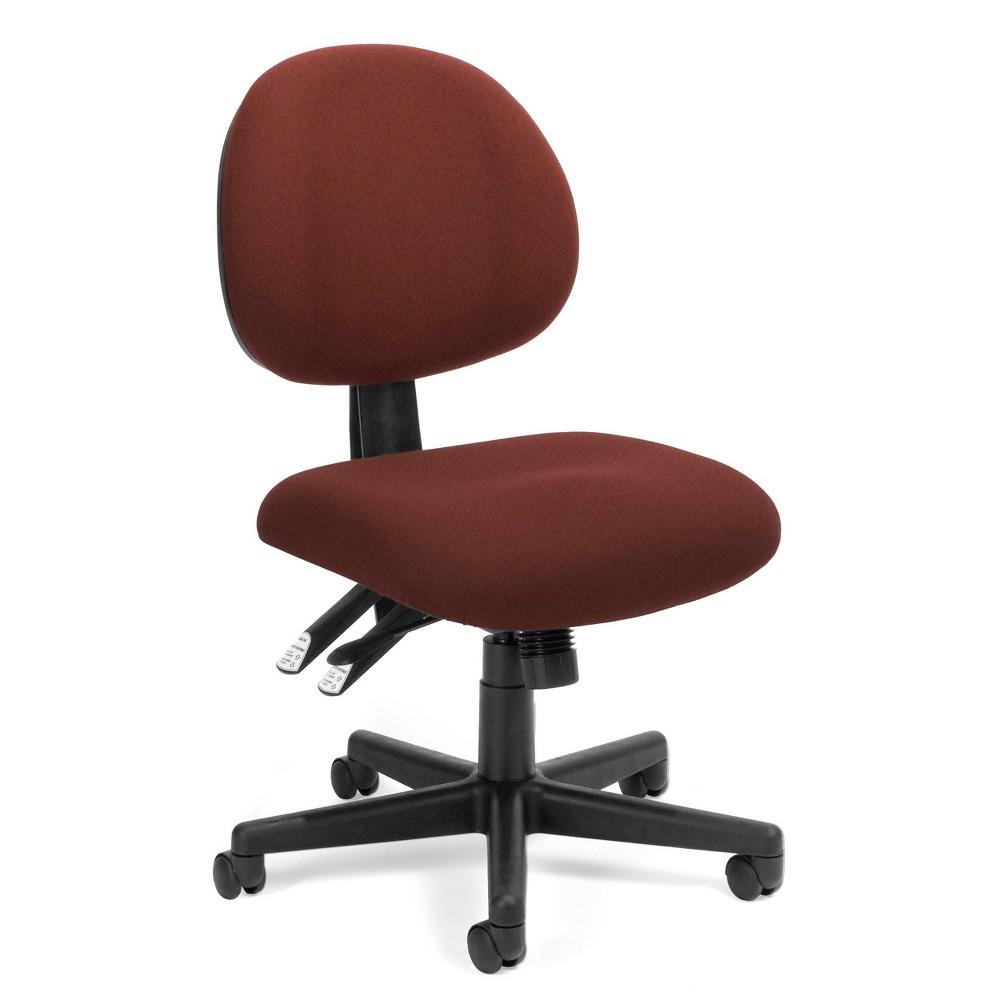 Image of 24 Hour Ergonomic Multi Adjustable Upholstered Armless Task Chair Burgundy - OFM