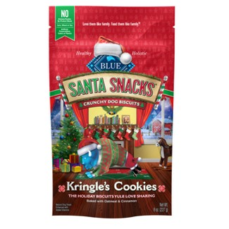 Blue Buffalo Santa Snacks - Kringles Cookies Crunchy Dog Biscuits With Oatmeal & Cinnamon - 8oz