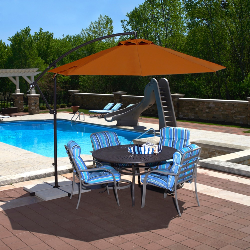Image of 10' Island Umbrella Santiago Octagonal Cantilever Umbrella in Terracotta Olefin