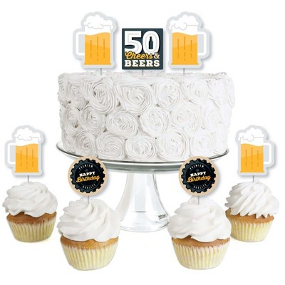 Big Dot of Happiness Cheers and Beers to 50 Years - Dessert Cupcake Toppers - 50th Birthday Party Clear Treat Picks - Set of 24