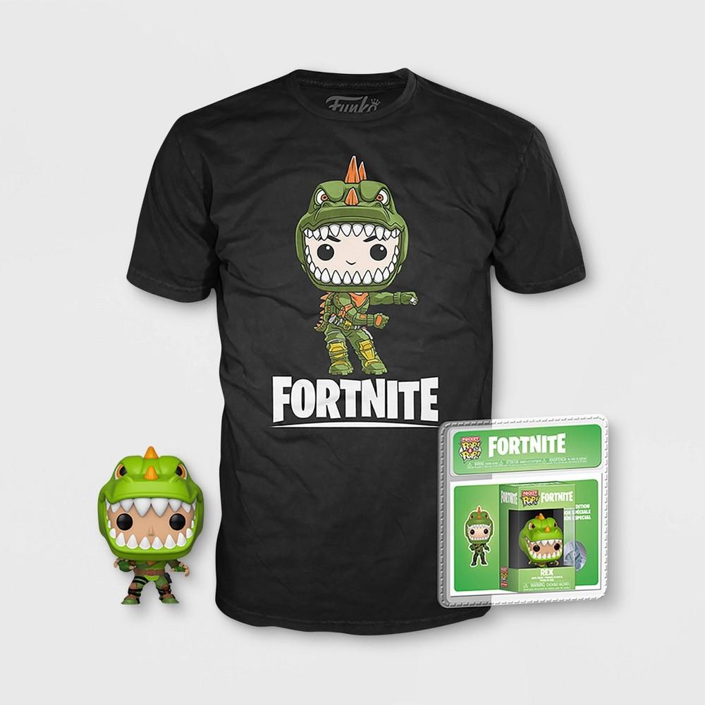 Kids Mini Pop!+T-Shirt Fortnite: Rex - Black S, Boy's