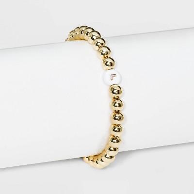 SUGARFIX by BaubleBar Initial Stretch Bracelet - Gold