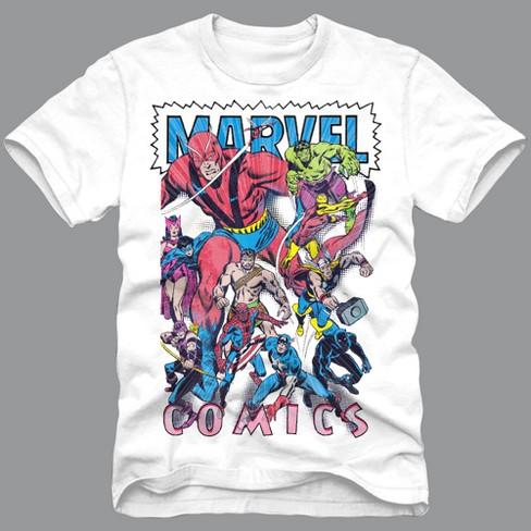 00a1a346 Men's Marvel Short Sleeve Comics Graphic T-Shirt - White XL : Target