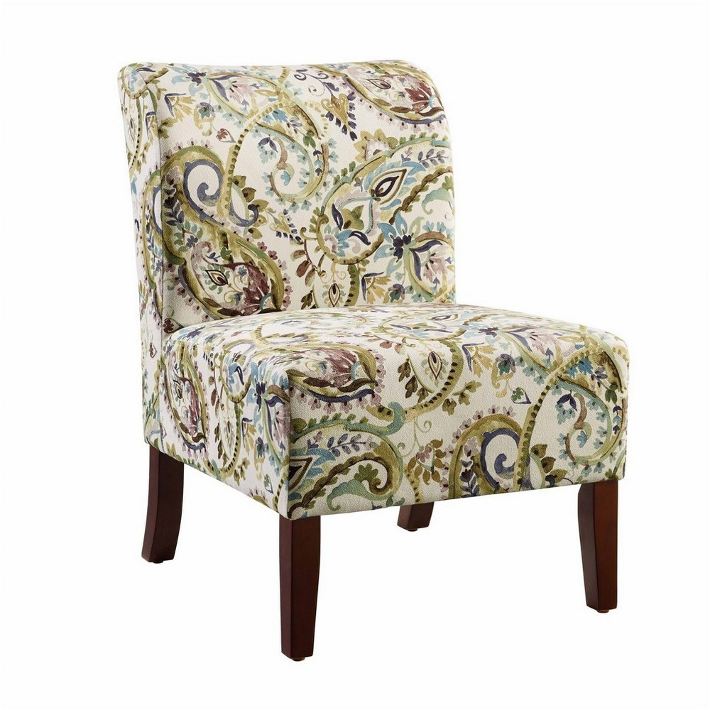 Julie Curved Back Slipper Chair Gold - Linon, Lagoon Paisley