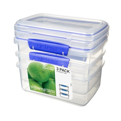 Sistema 4.2 Cup 3pk Food Storage Container Blue