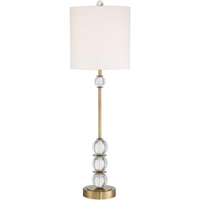 Vienna Full Spectrum Art Deco Buffet Table Lamp Crystal Ball Brass Metal Off White Fabric Drum Shade for Dining Room