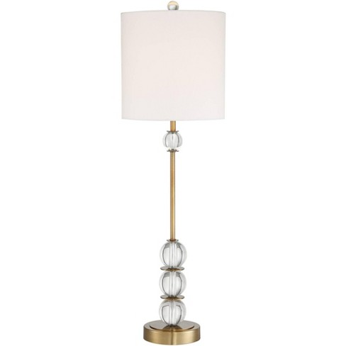 Vienna Full Spectrum Art Deco Buffet Table Lamp Crystal Ball Brass Metal Off White Fabric Drum Shade for Dining Room - image 1 of 4