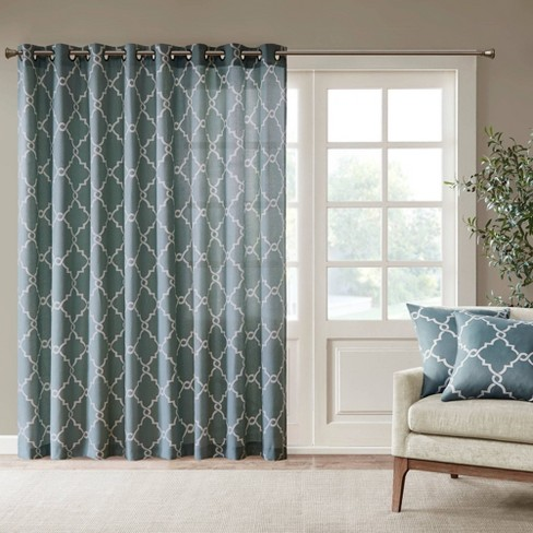 84 X100 Sereno Fretwork Print Light, Patio Panel Curtains