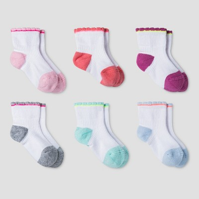 Baby Girls' Athletic Scalloped Low Cut Socks 6pk - Cat & Jack™ Multicolor 6-12M