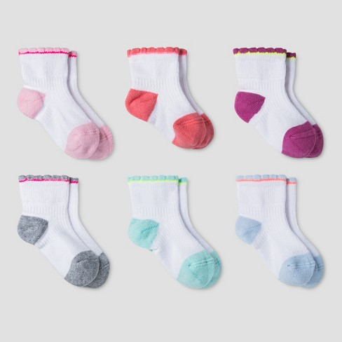 Baby Girls' Athletic Scalloped Low Cut Socks 6pk - Cat & Jack™ Multicolor - image 1 of 1