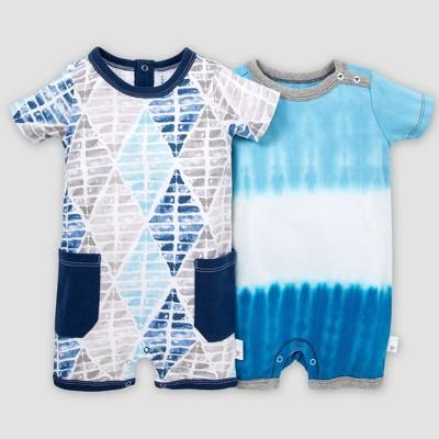 Burt's Bees Baby® Baby Boys' Organic Cotton 2 Pack Brilliant Diamond Romper Set - Blue 6-9M