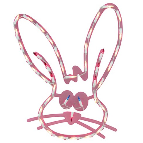 """Impact Innovations 18"""" Lighted Pink Bunny Head Easter Window Silhouette Decoration - image 1 of 4"""