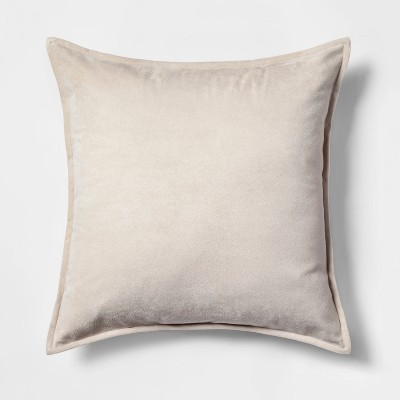 Faux Suede Square Throw Pillow Neutral - Project 62™
