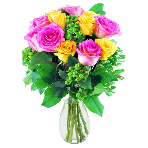 KaBloom Girls' Just Wanna Have Fun Roses Fresh Flower Arrangement - with Vase - image 1 of 1