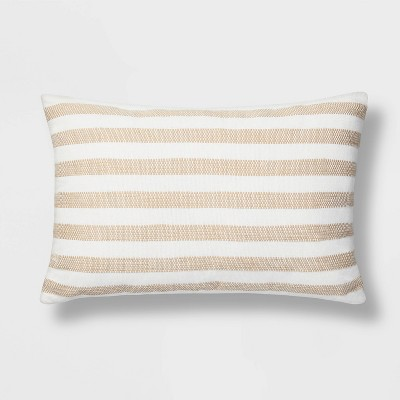 Lumbar Woven Stripe Pillow White/Neutral - Threshold™