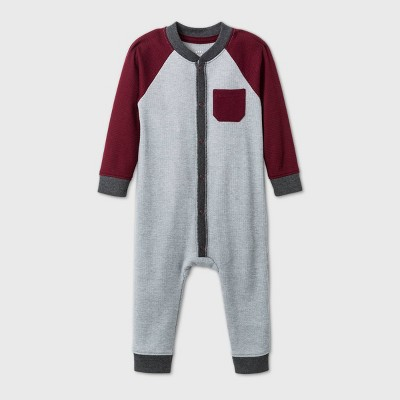 Baby Boys' Thermal Raglan Romper - Cat & Jack™ Gray Newborn