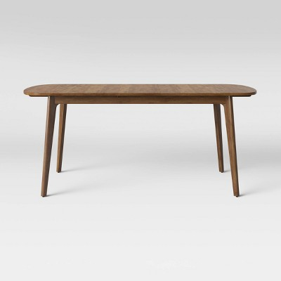 Astrid Mid Century Dining Table With Extension Leaf Brown
