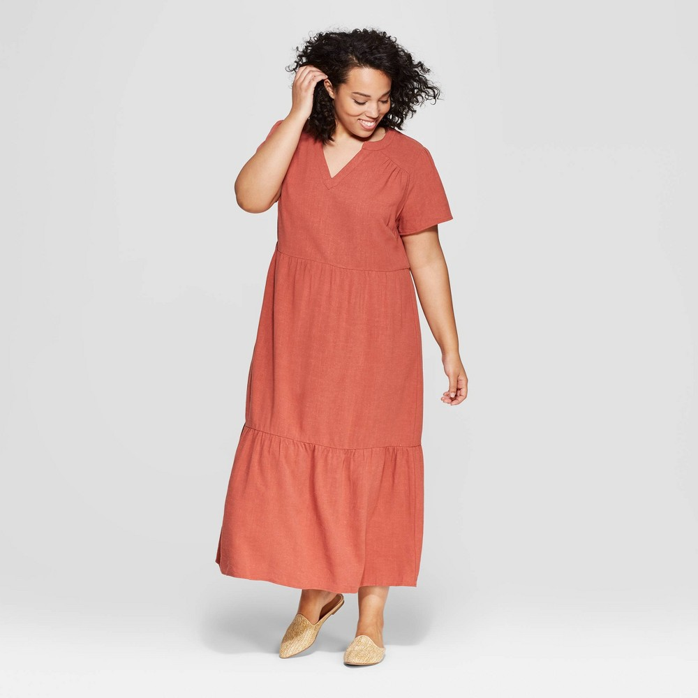 Women's Plus Size Cap Sleeve V-Neck Midi Dress - Universal Thread Copper 1X, Size: X, Brown