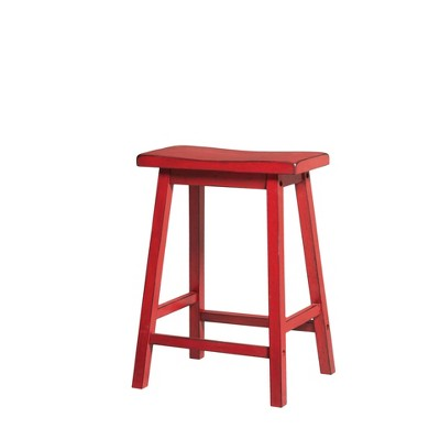 Set of 2 Wooden Counter Height Stool Red- Benzara