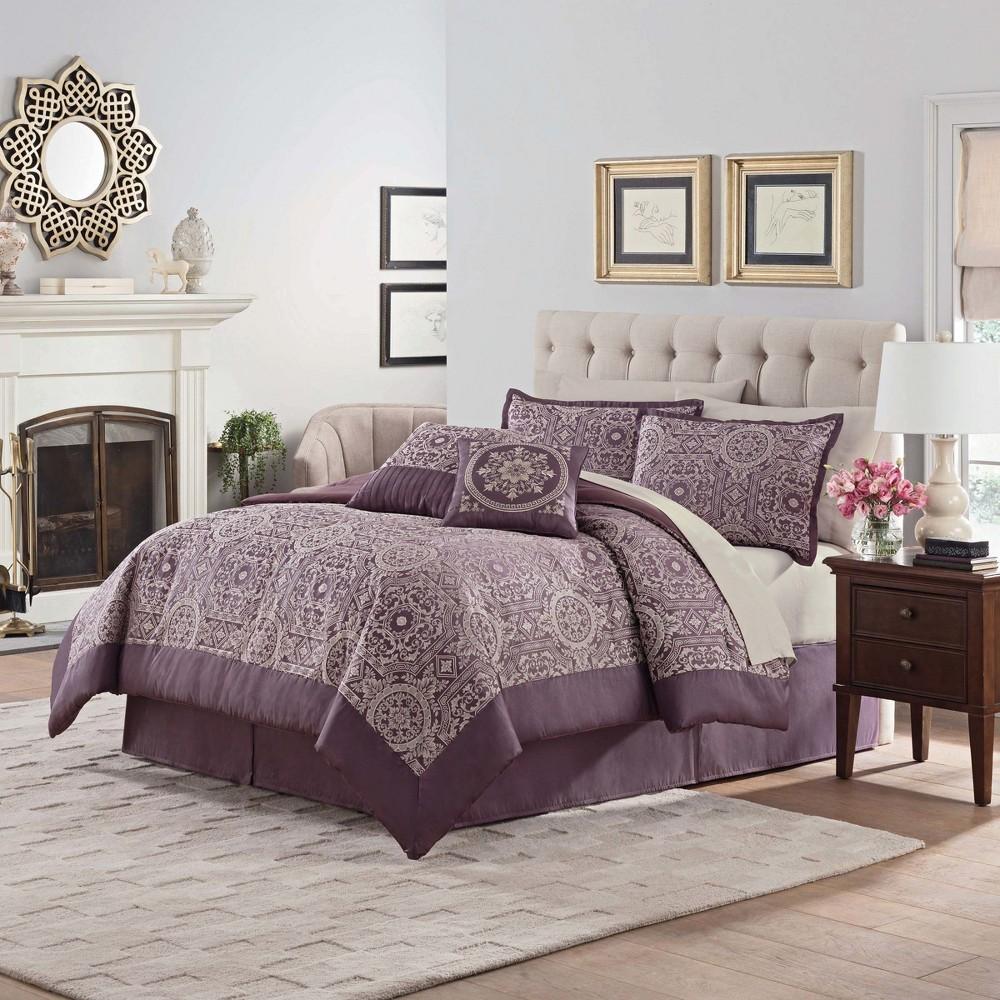 Purple Oxford Comforter Set (King) 10pc - Vue Signature