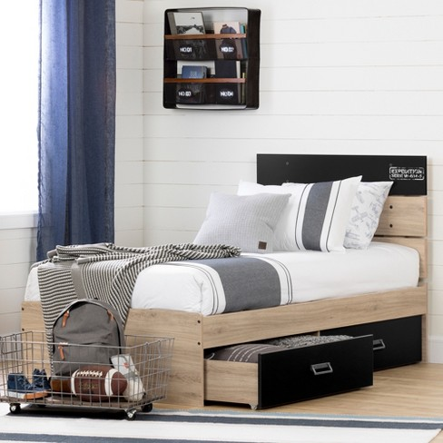 Twin Induzy Bed Set With 2 Drawers Rustic Oak/Matte Black - South ...