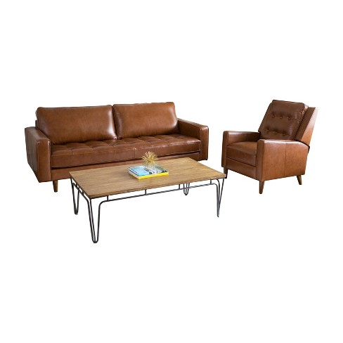2pc Calvin Mid Century Top Grain Leather Sofa & Recliner Set Camel -  Abbyson Living