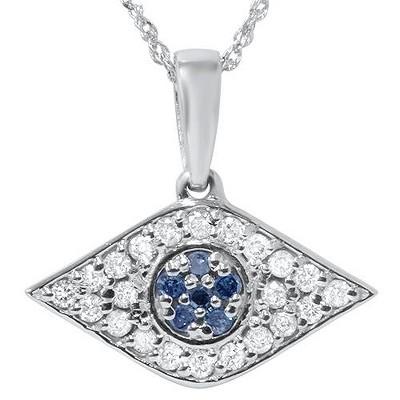 "Pompeii3 1/4ct Blue & White Diamond Evil Eye Pendant 14K White Gold W/ 18"" Chain & Box"