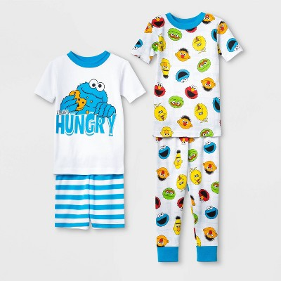 Baby Boys' 4pc 100% Cotton Sesame Street Pajama Set - White 12M