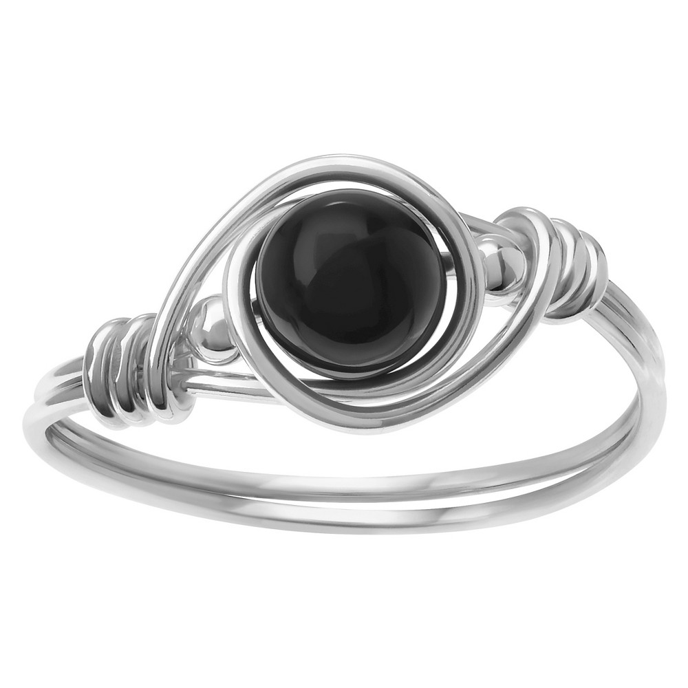 3/5 CT. T.W. Round-cut Onyx Wrapped Fashion Bead Set Ring in Sterling Silver - Black, 5