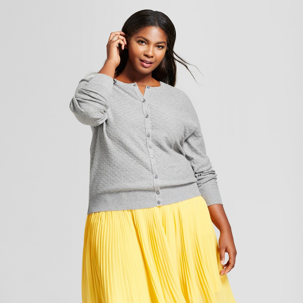Women's Plus Size Any Day Cardigan - A New Day Gray 2X