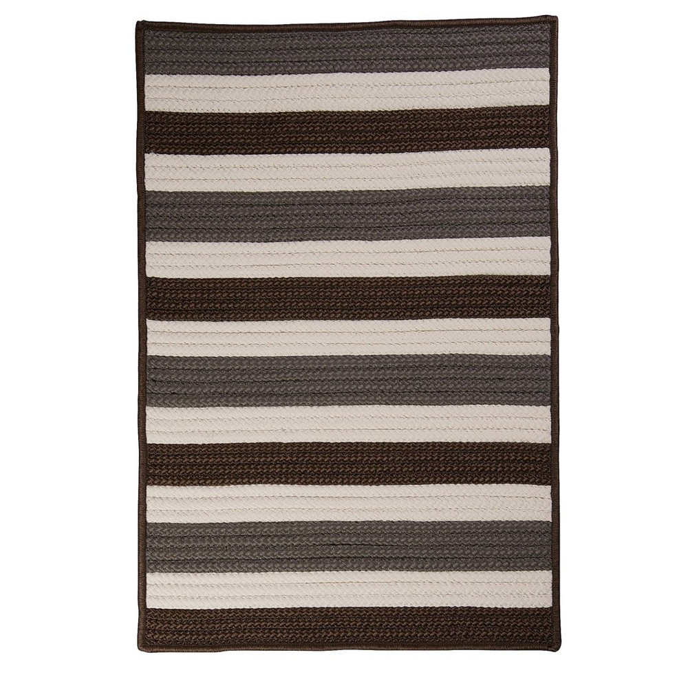 Railroad Stripe Braided Area Rug Brown